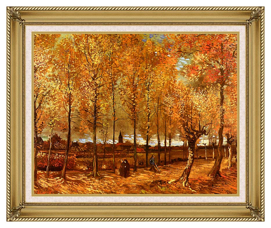 Vincent van Gogh Lane with Poplars with Gallery Gold Frame w/Liner