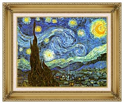 Vincent Van Gogh The Starry Night canvas with gallery gold wood frame