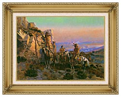 Charles Russell Trouble Hunters canvas with gallery gold wood frame