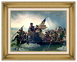Emanuel Leutze Washington Crossing The Delaware canvas with gallery gold wood frame