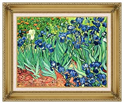 Vincent Van Gogh Irises canvas with gallery gold wood frame