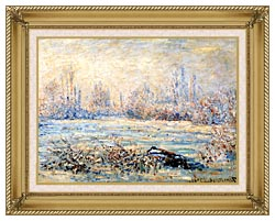Claude Monet Frost Near Vetheuil canvas with gallery gold wood frame