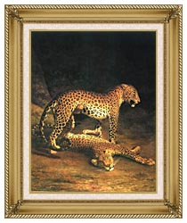 Jacques Laurent Agasse Two Leopards canvas with gallery gold wood frame