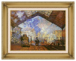 Claude Monet La Gare Saint Lazare canvas with gallery gold wood frame