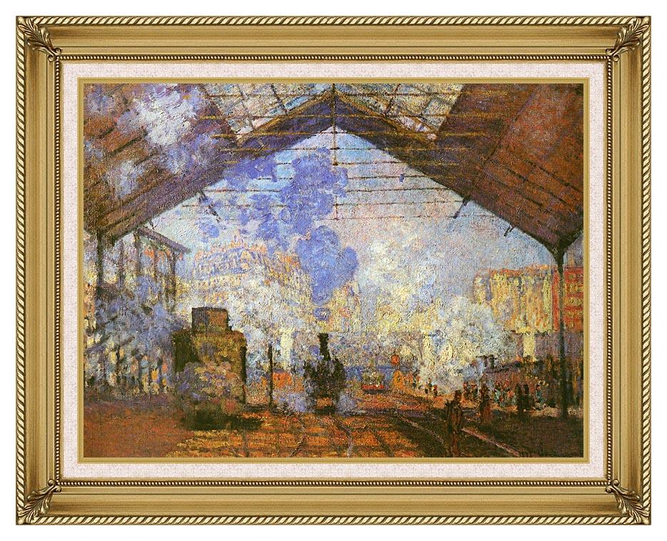 Claude Monet La gare Saint Lazare with Gallery Gold Frame w/Liner