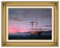 Fitz Hugh Lane Lumber Schooners At Evening On Penobscot Bay canvas with gallery gold wood frame