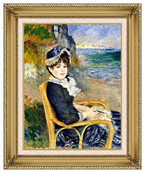 Pierre Auguste Renoir By The Seashore canvas with gallery gold wood frame