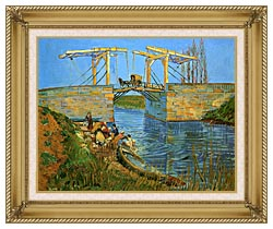 Vincent Van Gogh The Langlois Bridge At Arles With Women Washing canvas with gallery gold wood frame