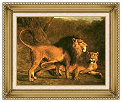 Jacques Laurent Agasse Two Lions Life Size canvas with gallery gold wood frame