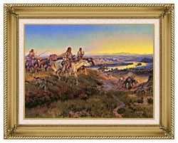 Charles Russell When White Men Turn Red canvas with gallery gold wood frame