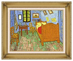 Vincent Van Gogh Vincents Bedroom At Arles canvas with gallery gold wood frame