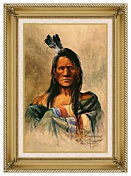 Charles Russell Indian Head canvas with gallery gold wood frame