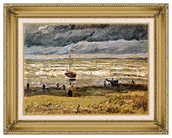 Vincent Van Gogh Beach At Scheveningen In Stormy Weather canvas with gallery gold wood frame