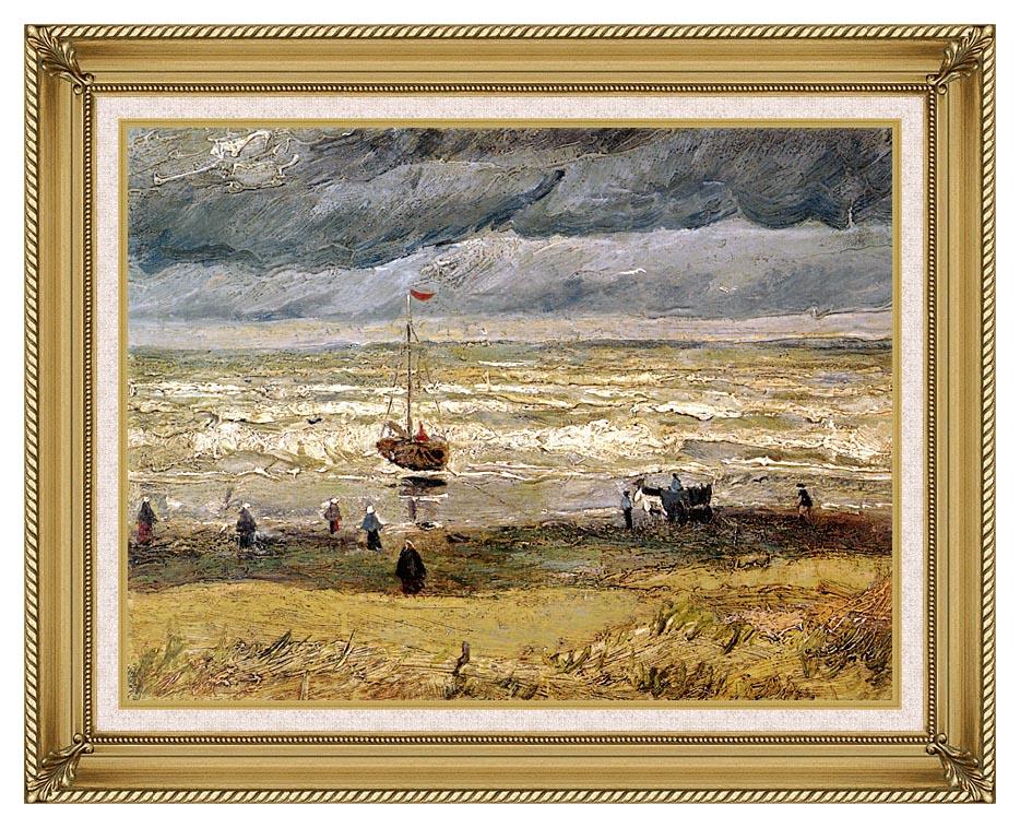 Vincent van Gogh Beach at Scheveningen in Stormy Weather with Gallery Gold Frame w/Liner
