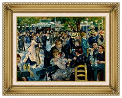 Pierre Auguste Renoir At The Moulin De La Galette canvas with gallery gold wood frame