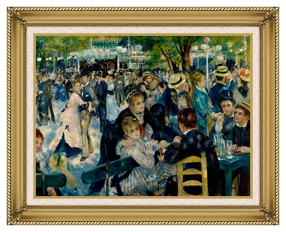 Pierre Auguste Renoir At the Moulin de la Galette with Gallery Gold Frame w/Liner