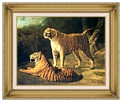 Jacques Laurent Agasse Two Tigers Life Size canvas with gallery gold wood frame