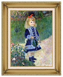 Pierre Auguste Renoir A Girl With A Watering Can canvas with gallery gold wood frame