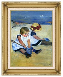 Mary Cassatt Children Playing On The Beach canvas with gallery gold wood frame
