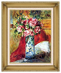 Pierre Auguste Renoir Roses In A Vase canvas with gallery gold wood frame