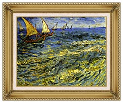 Vincent Van Gogh Seascape At Saintes Maries canvas with gallery gold wood frame