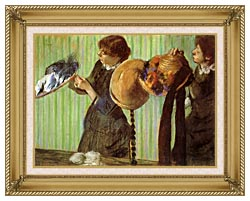 Edgar Degas Little Milliners canvas with gallery gold wood frame