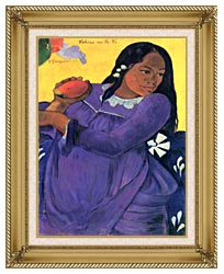 Paul Gauguin Woman With Mango canvas with gallery gold wood frame