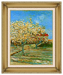 Vincent Van Gogh Orchard In Blossom canvas with gallery gold wood frame