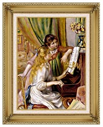 Pierre Auguste Renoir At The Piano canvas with gallery gold wood frame