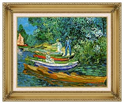 Vincent Van Gogh Bank Of The Oise At Auvers canvas with gallery gold wood frame