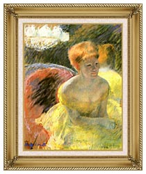 Mary Cassatt At The Theater Woman In A Loge canvas with gallery gold wood frame