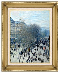 Claude Monet Boulevard Des Capucines canvas with gallery gold wood frame