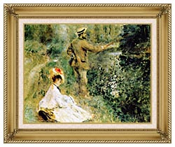 Pierre Auguste Renoir The Angler canvas with gallery gold wood frame