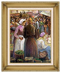 Camille Pissarro Market At Pontoise canvas with gallery gold wood frame