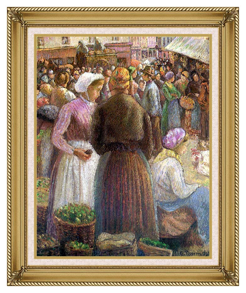 Camille Pissarro Market at Pontoise with Gallery Gold Frame w/Liner