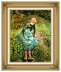 Camille Pissarro The Shepherdess canvas with gallery gold wood frame