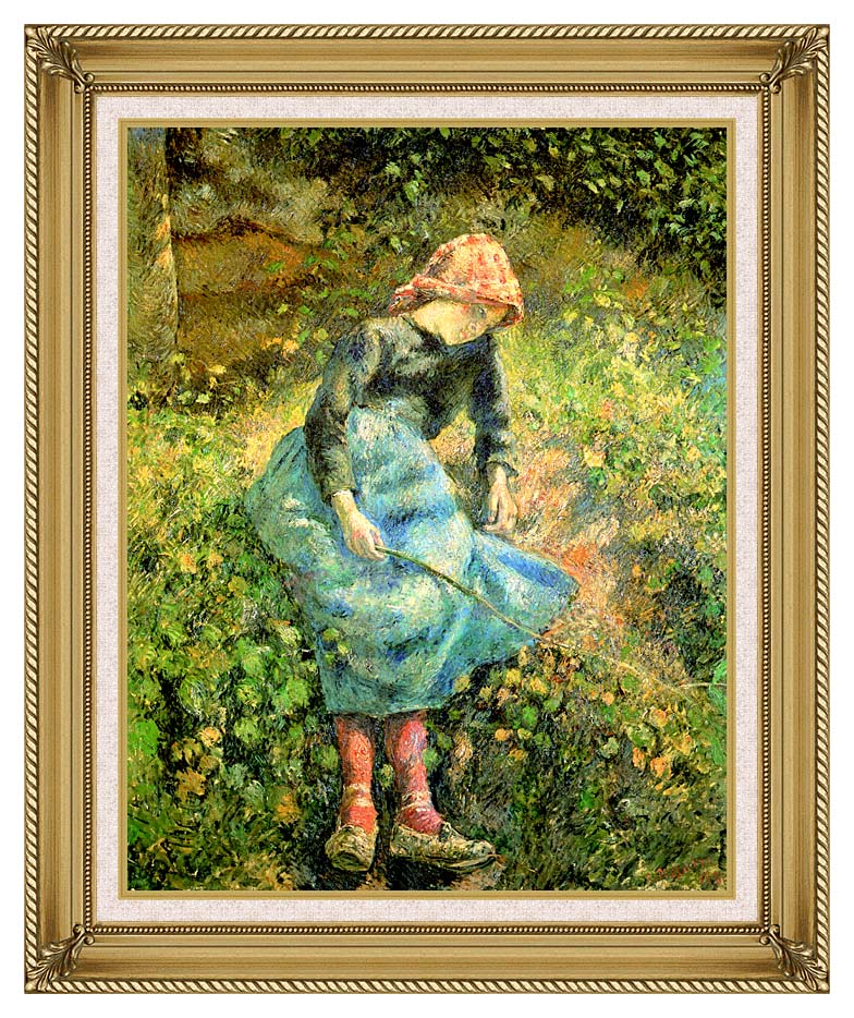 Camille Pissarro The Shepherdess with Gallery Gold Frame w/Liner