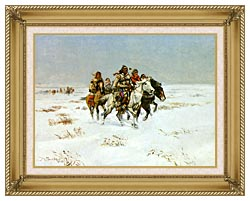 Charles Russell The Snow Trail canvas with gallery gold wood frame