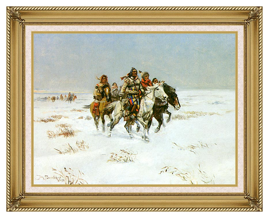 Charles Russell The Snow Trail with Gallery Gold Frame w/Liner