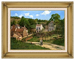 Camille Pissarro The Hermitage At Pontoise canvas with gallery gold wood frame