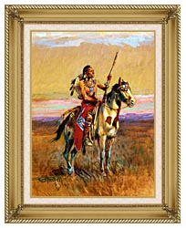 Charles Russell The Scout canvas with gallery gold wood frame