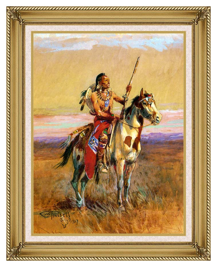 Charles Russell The Scout with Gallery Gold Frame w/Liner