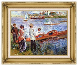 Pierre Auguste Renoir Oarsmen At Chatou canvas with gallery gold wood frame