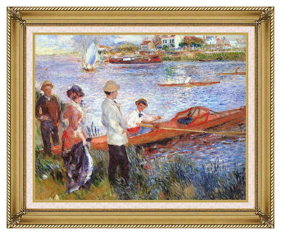 Pierre Auguste Renoir Oarsmen at Chatou with Gallery Gold Frame w/Liner
