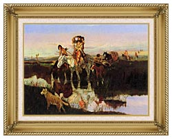 Charles Russell Bringing Up The Trail canvas with gallery gold wood frame