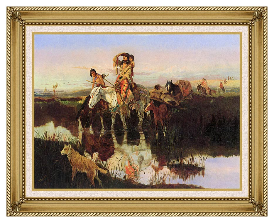 Charles Russell Bringing Up the Trail with Gallery Gold Frame w/Liner