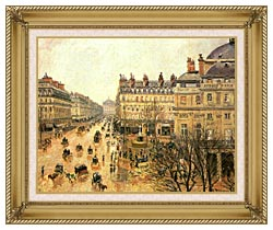 Camille Pissarro Place Du Theatre Francais Rain canvas with gallery gold wood frame