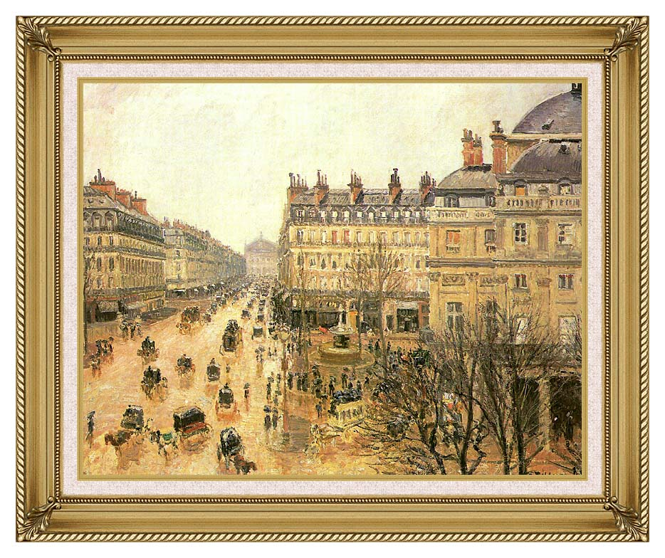 Camille Pissarro Place du Theatre Francais, Rain with Gallery Gold Frame w/Liner