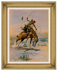 Charles Russell The Bucker canvas with gallery gold wood frame