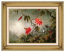Martin Johnson Heade Passion Flowers And Hummingbirds canvas with gallery gold wood frame